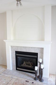 White Dove Painted Fireplace PROGRESS White Painted Fireplace, Marble Fireplace Surround, White Mantel, Fireplace Surrounds, Fireplace Design, Reface Fireplace, Build A Fireplace, Fireplace Remodel, Fireplace Mantels