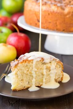 Irish Apple Cake with Custard Sauce | I want to keep this cake all to myself…it is just that good! It's everything you'd imagine it to be and more. It's not overly sweet like many cakes can be, it has just a nice depth of sweetness which pairs well with slight tartness of the granny smith apples leaving them room to shine.  | Cooking Classy