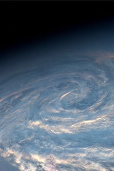 Spiral clouds at dusk, south of the tip of Africa, July 2013 by Karen Nyberg from the International Space Station