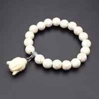1 strand Природный Камень Белый Коралловый Будда глава Amate Бирюзовый Черный Лава браслет и браслет Для Женщины Мужчины Изготовления Ювелирных Изделий