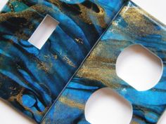 Blue Marbled Thai Paper Lightswitch and Outlet by lindsayslights, $10.00