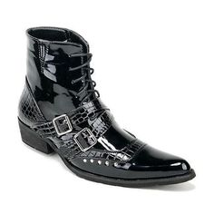 Men Black Studded Lace Up Gothic Punk Rock Fashion Boots SKU-1100142