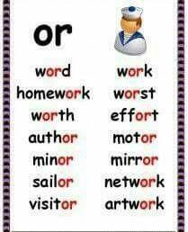 Phonics Poster – or Words 1 Phonics Reading, Teaching Phonics, Phonics Activities, Kindergarten Reading, Teaching Reading, English Words, English Lessons, Learn English, English Phonics