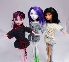 Hand knitted openwork DRESS for Bratz Monster by ZomiDollClothes