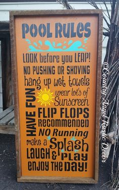 Rustic Pool Rules Rustic Wood by CountryAngelRustic on Etsy