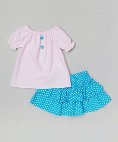 Take a look at the Pink Polka Dot Ruffle Tee & Skirt - Infant, Toddler & Girls on #zulily today!