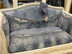 Who knew repurposing denim jeans could go so very wrong? Denim is such a nice fabric. Denim Furniture, Jean Diy, Blue Jean Quilts, Denim Art, Diy Jeans, Jean Crafts, Denim Ideas, Recycled Denim, Cool Fabric