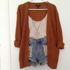 Chunky orange sweater + denim shorts
