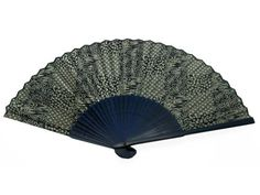 Japanese Design Silk Handheld Folding Fan Blue Swirls and Patterns HF205P -- Home decor details can be found by clicking on the image.