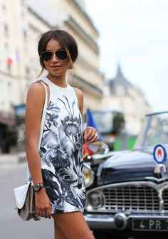 White Summer In Paris.  #WhiteGrey #Floral #Midi #Dress #White #SoulderBag
