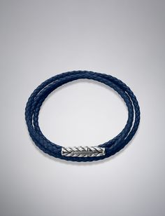 David Yurman Chevron™ Wrap Bracelet, Blue Leather | DavidYurman.com