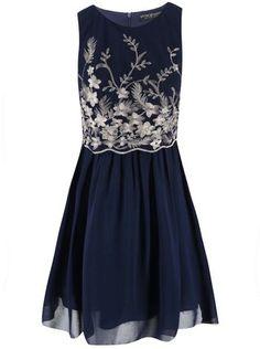 Little Mistress - Tmavě modré šaty se zlatými detaily - 1