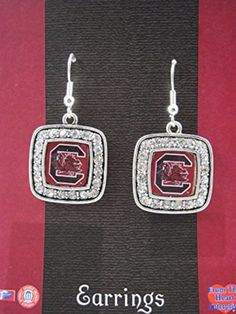Officially Licensed University of South Carolina Gamecocks Silvertone Square Crystal Studded Earrings
