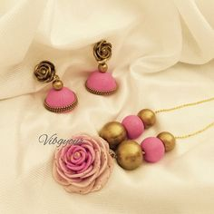 Handmade polymer clay rose set by Vibgyour on Etsy