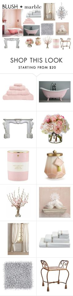 """Blush and Marble - Bathroom"" by shistyle ❤ liked on Polyvore featuring interior, interiors, interior design, home, home decor, interior decorating, Hamam, Diane James, Kate Spade and Illume"