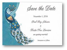100 Personalized Custom Teal Peacock Wedding Bridal Save the Date Cards
