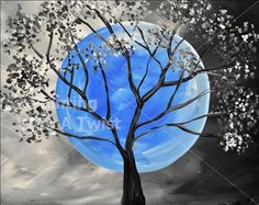 Blue Moon - Tallahassee Painting Class - Painting with a Twist - Painting with a Twist