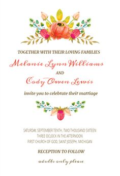Flowers Crown printable invitation template. Customize, add text and photos…