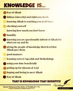 knowledge fear of Allah (swt)