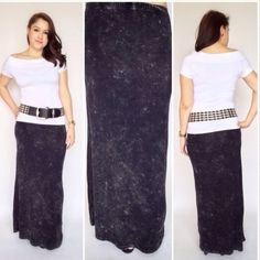 🆕LISTING Black Stone Wash Maxi Cute and adorable matched with the white top and wide belt. This is a must-have in your closet. Can be worn with the crop or pair with the oversize shirt with boots for the winter. Measures 40 print 40 inches long, hip to hip 15 inches. 60% cotton, 35% poly, 5% spandex POL Skirts Maxi