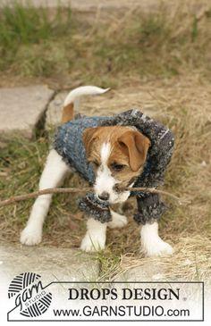 Manteau DROPS pour chien, tricoté en «Fabel», «Alpaca» et «Puddel»