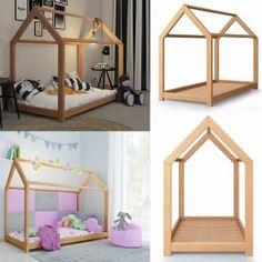 Vicco VICCO Kinderbett 80x160 cm Kinderhaus Massivholz Bett Kinder Haus Schlafen Spielbett Hausbett | Oskar-Store