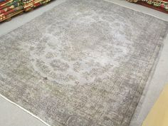 Handmade Pale GREY Color Overdyed Rug , Faded Authentic Patterns 10 x 7 feet in Antiques, Home & Garden | eBay
