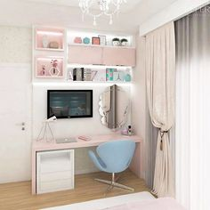 Room panel: 60 unique and creative ideas to decorate - Home Fashion Trend Girls Bedroom Storage, Small Room Bedroom, Cute Bedroom Ideas, Girl Bedroom Designs, Home Office Design, Home Office Decor, Home Decor, Teen Room Decor, Bedroom Decor