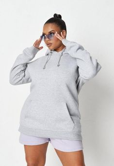 """a basic hoodie in an oversized fit with front pocket detail.      oversized fit - for a more regular fit, try sizing down!     80% Cotton 20% Polyester    Long length - Covers the bum    Alex wears a UK size 16 / EU size 44 / US size 12 and her height is 5'6"""" Basic Hoodie, Grey Hoodie, Babe, Stylish Winter Outfits, Uk Size 16, Pocket Detail, Short Outfits, Missguided, Hooded Jacket"""