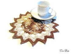 Crochet Brown and Ecrù Doily Small Doily by CreArtebyPatty on Etsy