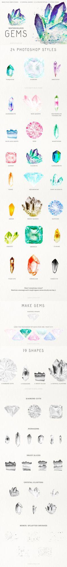 Gem Creator Kit Watercolor Crystal Clusters Clip Art Wedding Invitation Pocket Scrapbooking / Project Life / Journaling / Memory Keeping