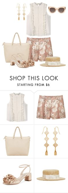 """""""Summer Neutrals"""" by kimberlyn303 ❤ liked on Polyvore featuring MANGO, Accessorize, Miu Miu, Kreisi Couture and CÉLINE"""