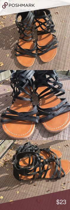 Anna Black Sandals Worn a couple times. Still in good condition. Stylish and cute to wear for summer or spring. Shoes Sandals
