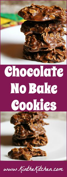 A simple classic – these fudgy Chocolate No Bake Cookies don't require any baking time and are full of oats, chocolate, and peanut butter!