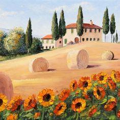 Paintings of Landscape, by Graham Denison - Palette Knife Artist. Watercolor Landscape Paintings, Landscape Art, Watercolor Flowers, Tuscan Art, Tuscany Landscape, Flower Art Drawing, Italy Painting, Italy Art, Guache