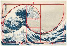 神奈川沖浪裏 絵に線を入れてみると、縦横比がおよそ「5:8」で「1:1.618」の黄金比をなしている長方形が見えてくる。また、右側に見える船2 艘のうち、上の船が乗っている波が描く曲線と、左の大波の波頭の輪郭をたどる曲線が、らせん的な構図を生み出している。直線の長方形と曲線のらせんを大胆に組み合わせてバランスの取れたダイナミックな美が生まれている。