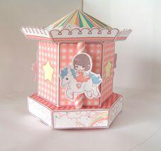 Carousel Merry go round gift cupcake box printable PDF by Titchi Carousel Cupcakes, Carousel Party, Printable Box, Printables, Pop Up Box Cards, Cupcake Boxes, Merry Go Round, Exploding Boxes, Etsy Crafts