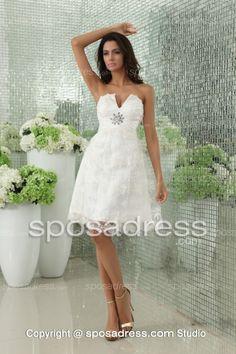 Short Cheap Princess A-line Knee Length Lace Wedding Dress