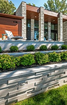 Super Ideas For Backyard Modern Landscaping Retaining Walls Landscape Steps, Modern Landscape Design, Landscape Walls, Contemporary Landscape, Kitchen Contemporary, Landscape Lighting, Landscaping Retaining Walls, Front Yard Landscaping, Hydrangea Landscaping