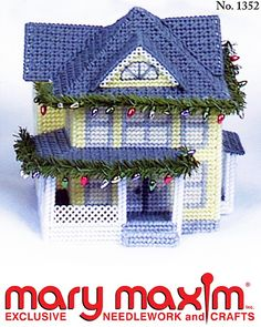 Use plastic canvas and yarn to make this house.