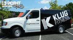 Advertising wrap on the Klug Fitness Nissan NV2500. 12-Point SignWorks…