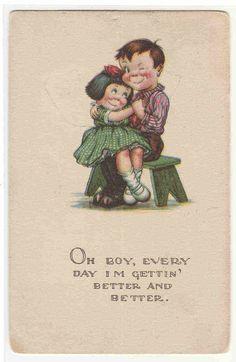 Oh Boy I'm Getting Better Boy Girl Romance Charles Twelvetrees artist postcard