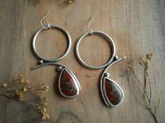 dinosaur jasper earrings sterling silver by Q2jewelrycollection