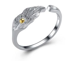 Pretty sterling silver leaf ring with rhodium plating  to prevent oxidization.  Free Shipping