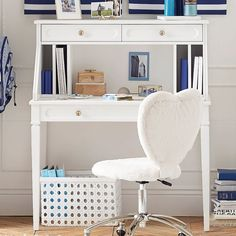 PB Teen Auburn Desk + Hutch Set, Water-Based Simply White ($639) ❤ liked on Polyvore featuring home, furniture, desks, hardware furniture, white home office desk, white hutch, white desk and cubby furniture