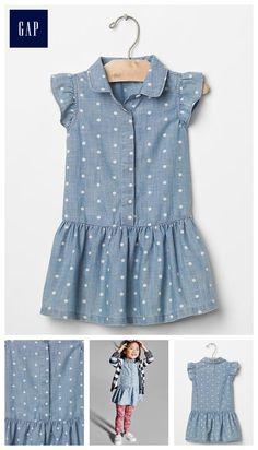 1969 polka dot chambray tank dress