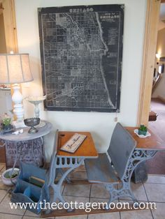 Chicago map and cool old school desk