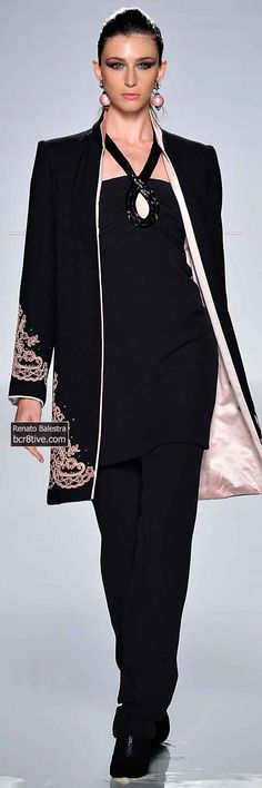 Black and Pink Embroidered Pants Suit
