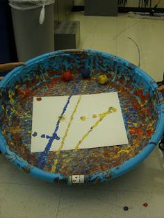 small pool tennis balls paint for jackson pollock