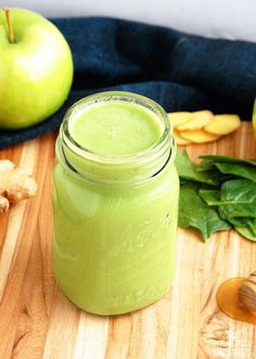 Apples and ginger make a wonderful pairing in this weight loss smoothie recipe. The smoothie is not too tart and not too sweet, finding just the right balance to make a delicious drink. Juicy green apples provide plenty of fiber to supplement your diet. Fiber-rich foods can help with weight loss...
